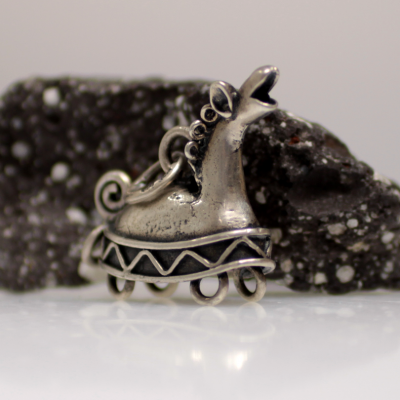 Finnougristic silver horse pendant