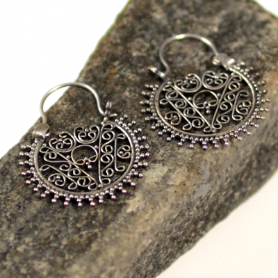 Silver byzantine earrings