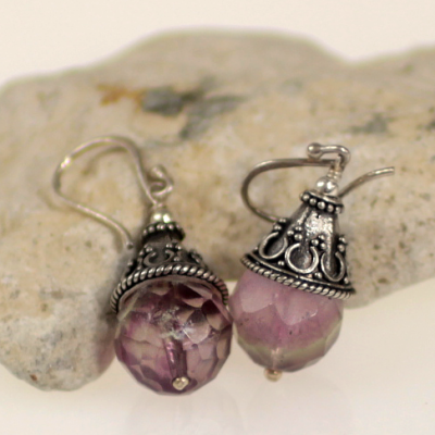 Filigree earrings with quartz