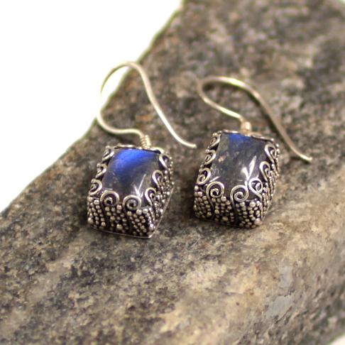 Silver labradorite earrings BBA247