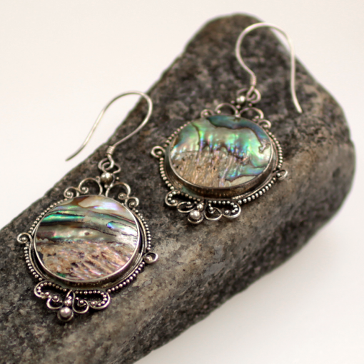Mother of pearl and siler earrings