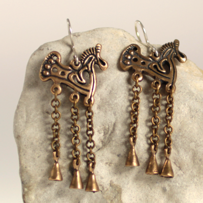 Bronze horse earrings