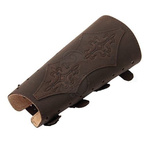 An archery bracer made of soft leather with brass buckles.