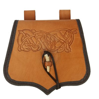 A viking inspired satchel with knotwork decor.