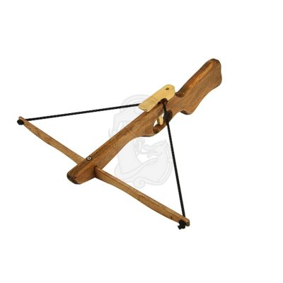 A small hand crossbow made out of wood.
