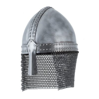 A Norman Spangenhelm with nasal protection and mail aventail.