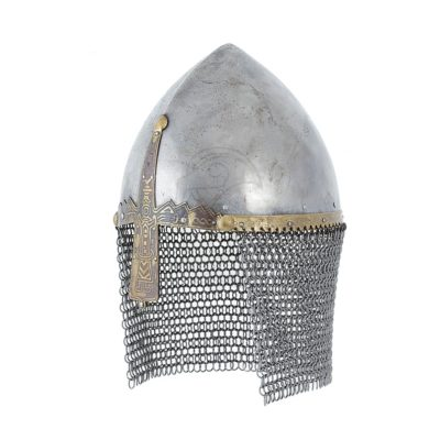 A nasal helmet with a characteristic decorative nasal and eyebrow piece.