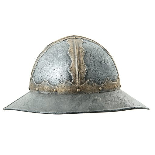 A toy helm with a typical wide brim