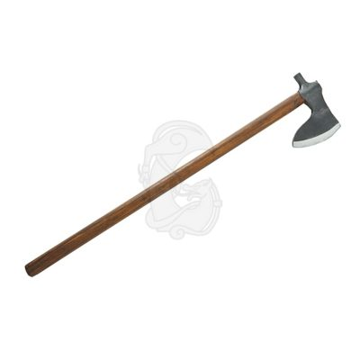 A viking age axe with a characteristic hammer on the back of the blade.