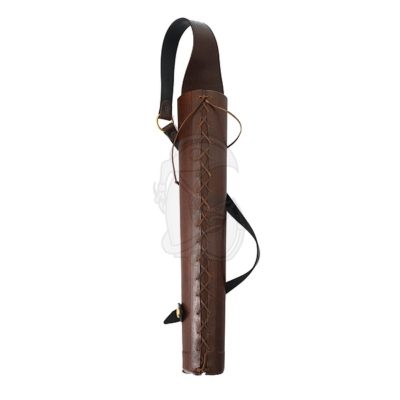 A sturdy laced quiver made of leather.